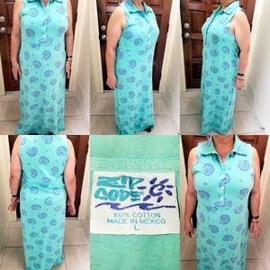 Womens Vintage Zip Code Maxi Dress Sea Snail Shell